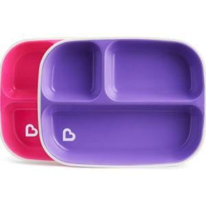 Набор тарелок Munchkin Splash Divided Plates 2 шт Розовая и фиолетовая (012448.01)