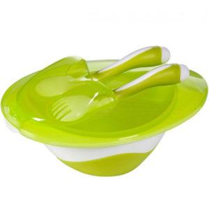 Тарелка BabyOno с вилкой и ложкой, зеленый (1064)
