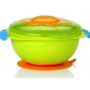 Тарелка для СВЧ-печи на присоске с крышкой «Улёт! Посуда!» Nuby Зеленая (5322(grn)) (2000127068691)