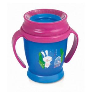 Чашка с ручками для девочки LOVI Folky Junior Следуй за кроликом, 250 мл