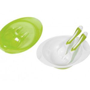 Тарелка BabyOno с вилкой и ложкой, зеленый (1064) - photo2