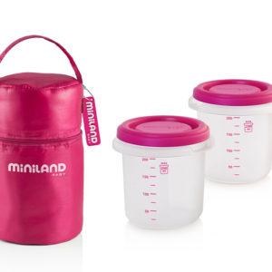 Термосумка + 2 два мерных стакана 250 мл, Miniland Pack 2 Go Hermifresh